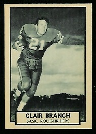 Clair Branch 1962 Topps CFL football card