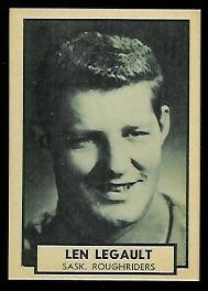 Len Legault 1962 Topps CFL football card