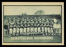 Saskatchewan Roughriders Team 1962 Topps CFL football card