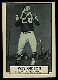 Wes Gideon 1962 Topps CFL football card