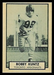 Bobby Kuntz 1962 Topps CFL football card