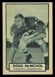 Doug McNichol 1962 Topps CFL football card