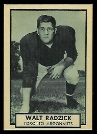 Walt Radzick 1962 Topps CFL football card