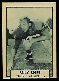 Billy Shipp 1962 Topps CFL football card