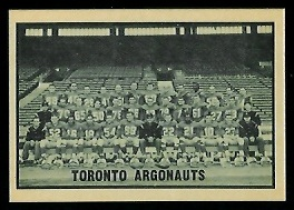 Toronto Argonauts Team 1962 Topps CFL football card