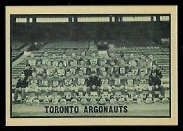 Toronto Argonauts Team 1962 Topps CFL football card