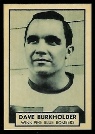 Dave Burkholder 1962 Topps CFL football card