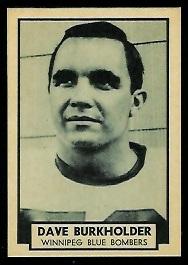 Dave Burkholder 1962 Topps CFL football card