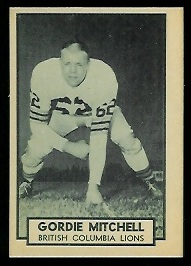Gordie Mitchell 1962 Topps CFL football card