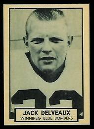 Jack Delveaux 1962 Topps CFL football card