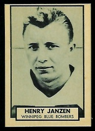 Henry Janzen 1962 Topps CFL football card