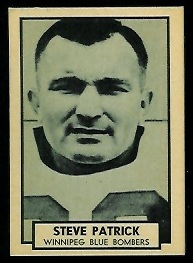 Steve Patrick 1962 Topps CFL football card