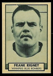 Frank Rigney 1962 Topps CFL football card