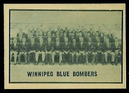 Winnipeg Blue Bombers Team 1962 Topps CFL football card
