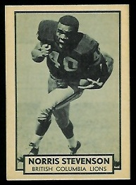 Norris Stevenson 1962 Topps CFL football card