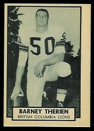 Barney Therrien 1962 Topps CFL football card