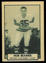 Nub Beamer 1962 Topps CFL football card