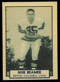 Nub Beamer 1962 Topps CFL football card