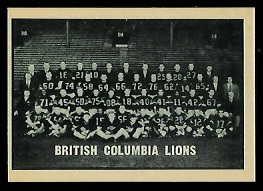B.C. Lions Team 1962 Topps CFL football card