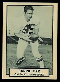 Barrie Cyr 1962 Topps CFL football card