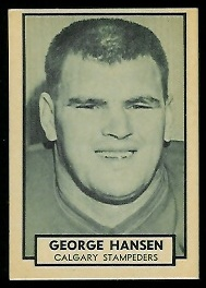 George Hansen 1962 Topps CFL football card