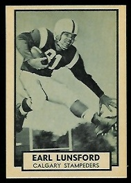 Earl Lunsford 1962 Topps CFL football card