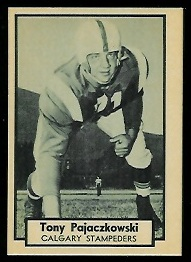 Tony Pajaczkowski 1962 Topps CFL football card