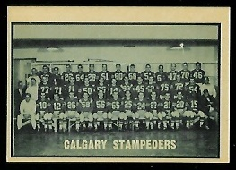 Calgary Stampeders Team 1962 Topps CFL football card