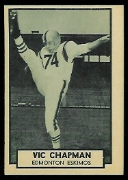 Vic Chapman 1962 Topps CFL football card