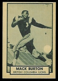 Mack Burton 1962 Topps CFL football card