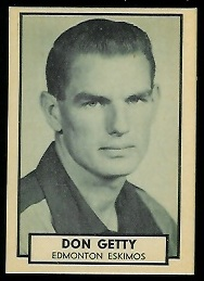 Don Getty 1962 Topps CFL football card
