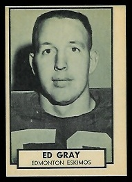 Ed Gray 1962 Topps CFL football card