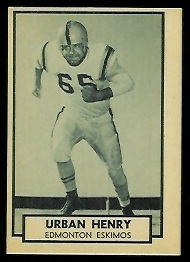 Urban Henry 1962 Topps CFL football card
