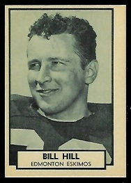 Bill Hill 1962 Topps CFL football card