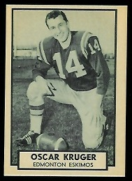 Oscar Kruger 1962 Topps CFL football card