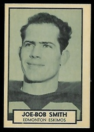 Joe Bob Smith 1962 Topps CFL football card