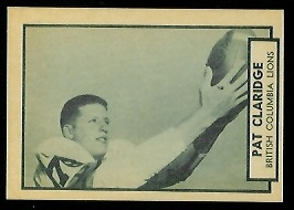 Pat Claridge 1962 Topps CFL football card
