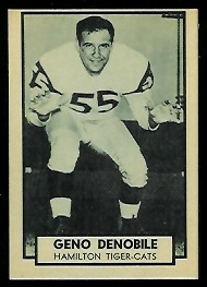 Geno DeNobile 1962 Topps CFL football card