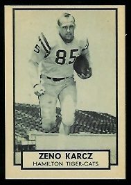 Zeno Karcz 1962 Topps CFL football card