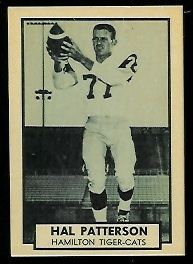 Hal Patterson 1962 Topps CFL football card