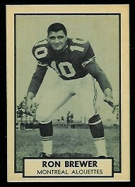 Ron Brewer 1962 Topps CFL football card