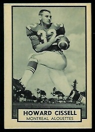 Howard Cissell 1962 Topps CFL football card