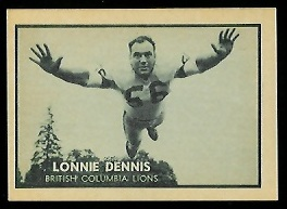 Lonnie Dennis 1962 Topps CFL football card