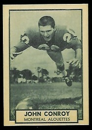 John Conroy 1962 Topps CFL football card