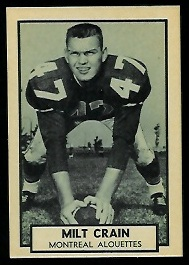 Milt Crain 1962 Topps CFL football card