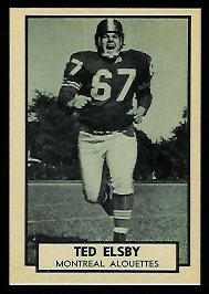 Ted Elsby 1962 Topps CFL football card