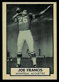 Joe Francis 1962 Topps CFL football card