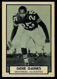 Gene Gaines 1962 Topps CFL football card