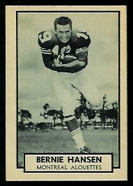 Barrie Hansen 1962 Topps CFL football card