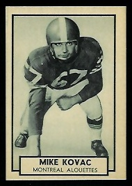 Mike Kovac 1962 Topps CFL football card